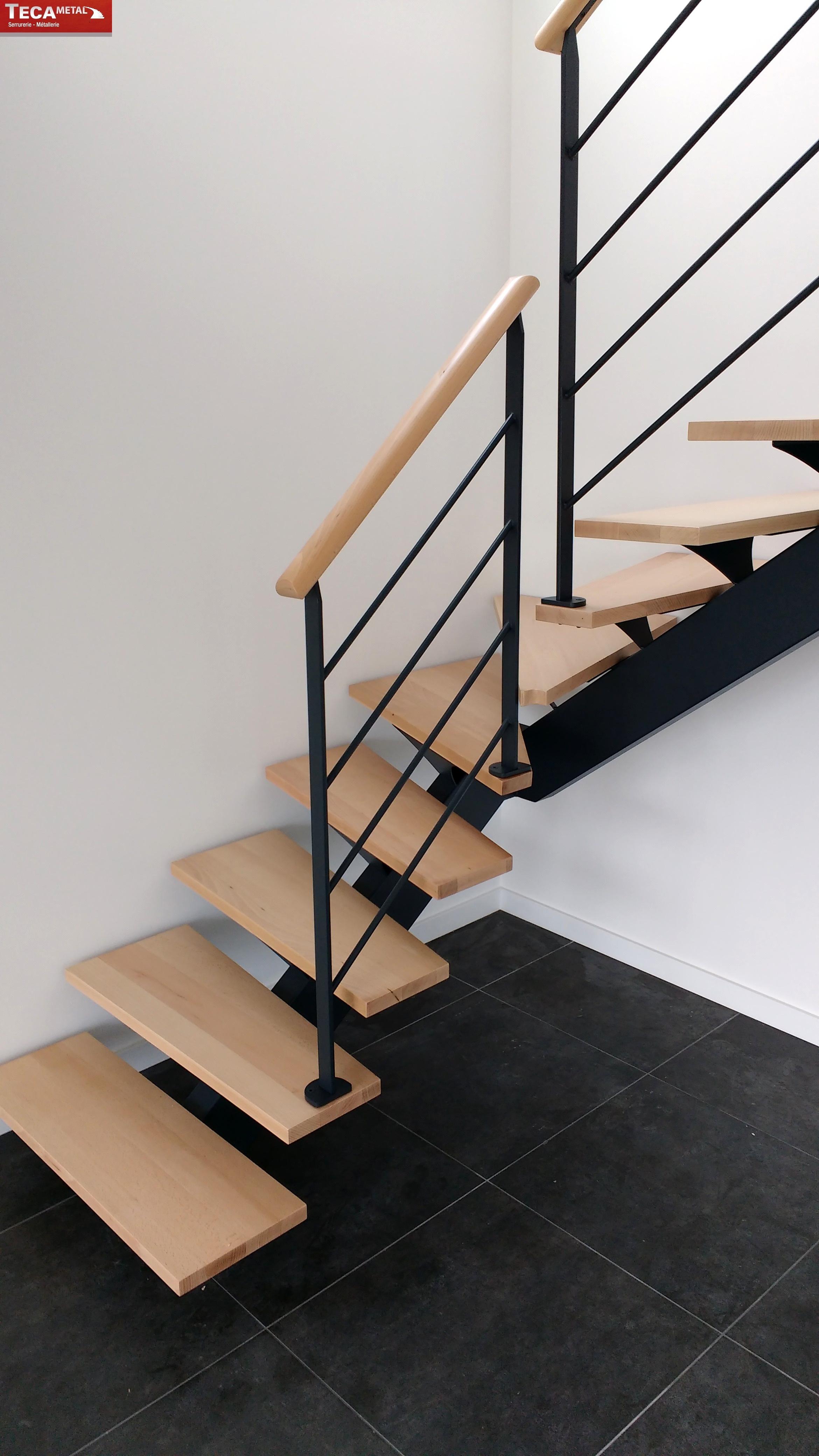"""Escalier Bois Metal Noir escalier limon central modèle """"le fameux"""" - tecametal"""